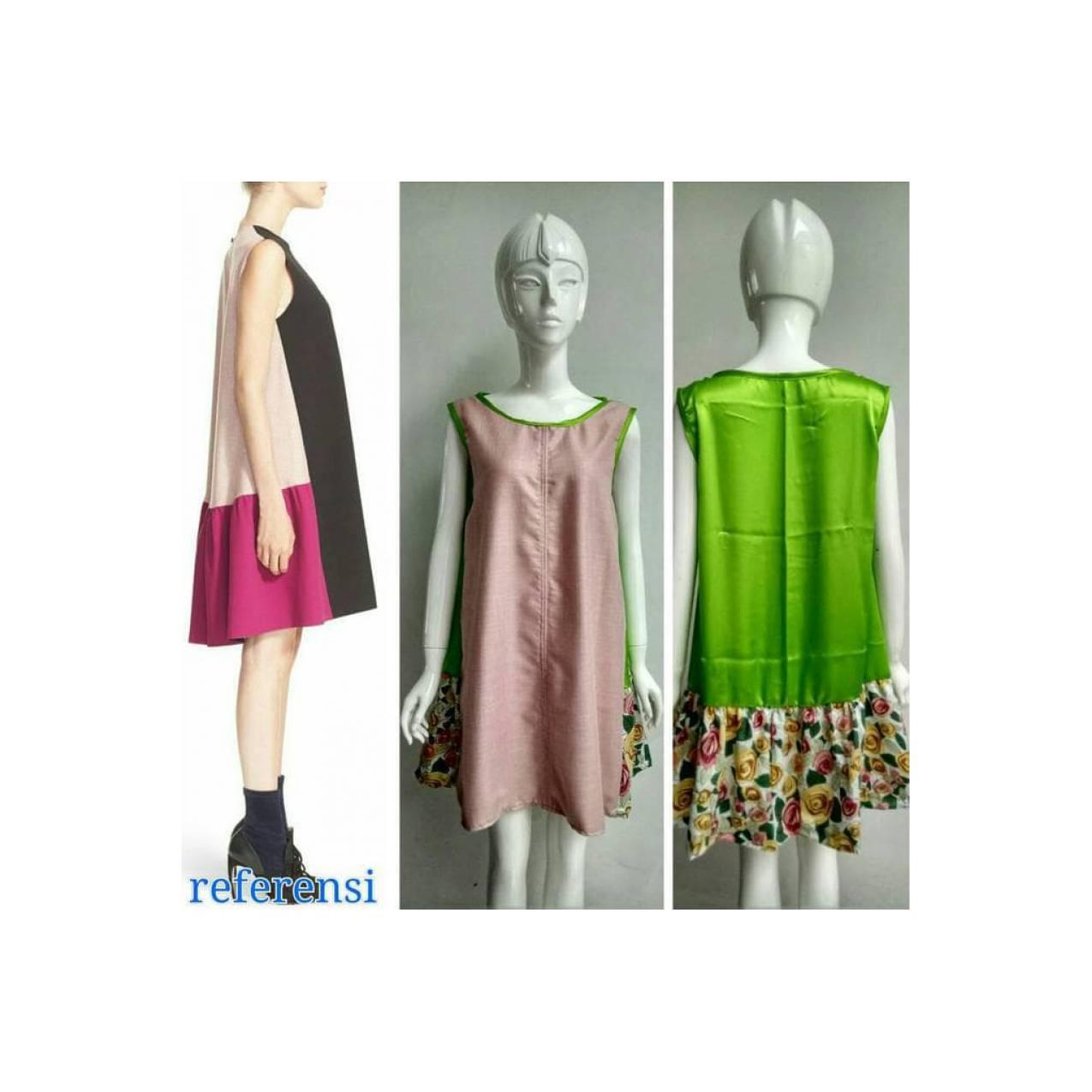 Dijual Dress Color Blok 3 Tone Terima Jahit Dress Celana Rok Kaftan
