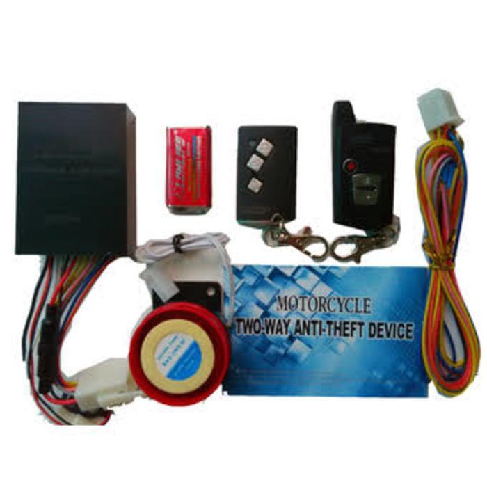 alarm mp two way include check engine plus relay | ( gembok alarm motor anti maling koper sepeda pagar cakram kinbar kode tas mobil clock rumah sensor gerak pintu digital remote lock bht ) |