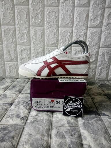 Sepatu Asics Onitsuka Tiger Mexico 66 Deluxe Off White Maroon