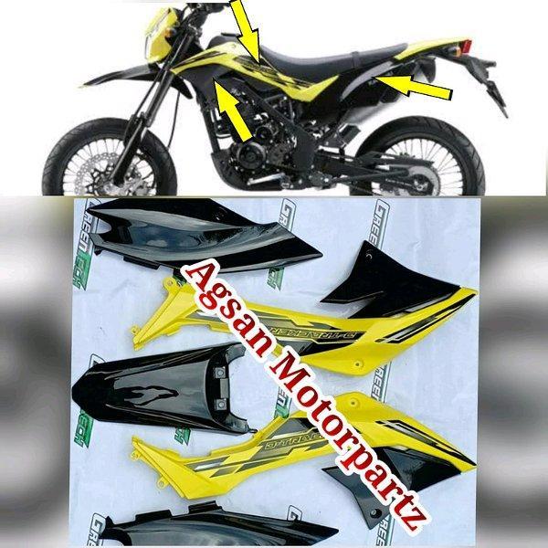 cover body set klx 150 dtracker hitam kuning original kawasaki