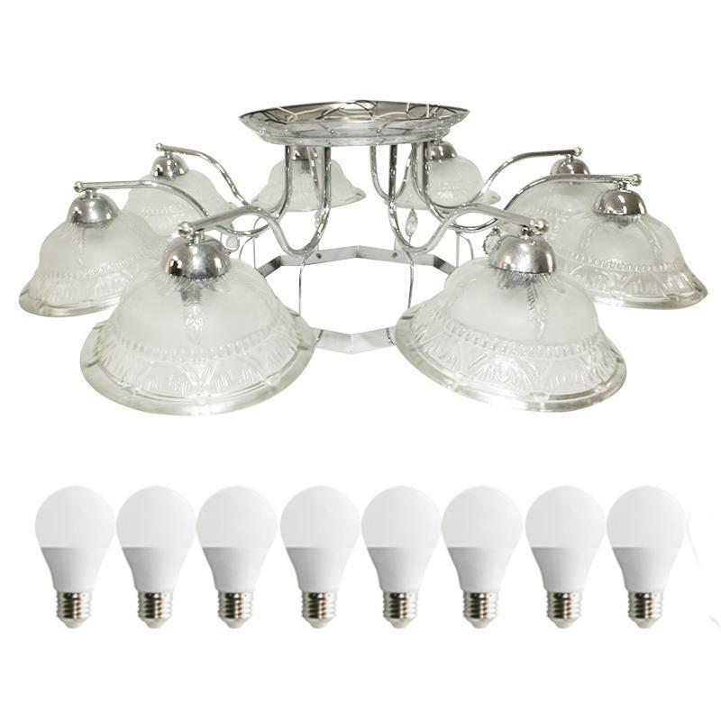 EELIC LHG-06 Lampu Hias +8 PCS LED 5 Watt Gantung Mangkuk Motif Daun Dan Hiasan Bola Kristal