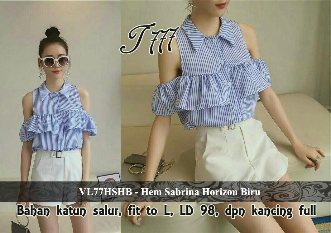Vlovi Promo Baju Atasan Wanita Model Korea Baru Blouse Sabrina Baru VL77HSHB Hem Sabrina Horizon Biru