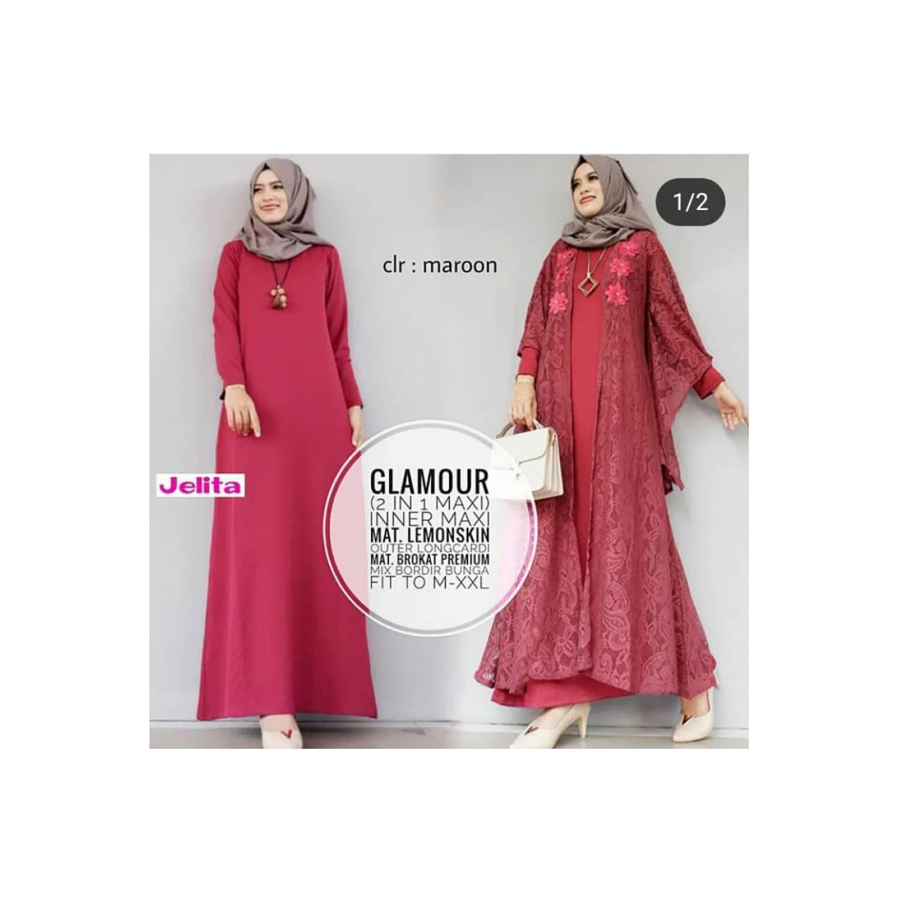 gamis brokat baju muslim maxi long dress kaftan wanita cardigan -jelit