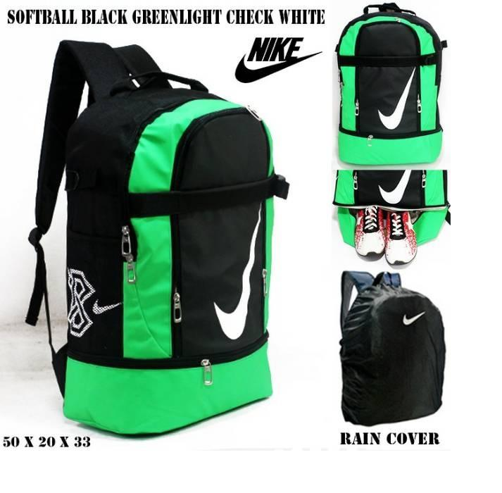 Tas ransel nike softball black greenlight check white | free rain cover