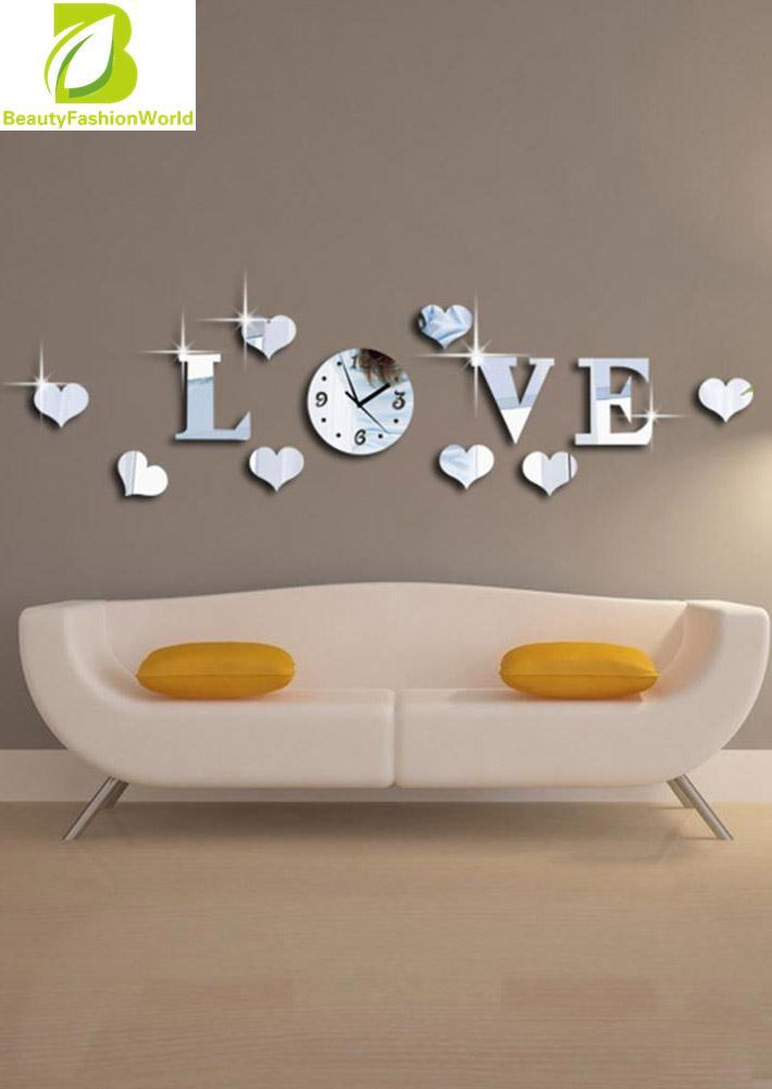 Silver 3D Cermin LOVE Decal Wall Sticker DIY Jam Dinding Ruang Tamu  Dekorasi Rumah 1bed5b1ccf