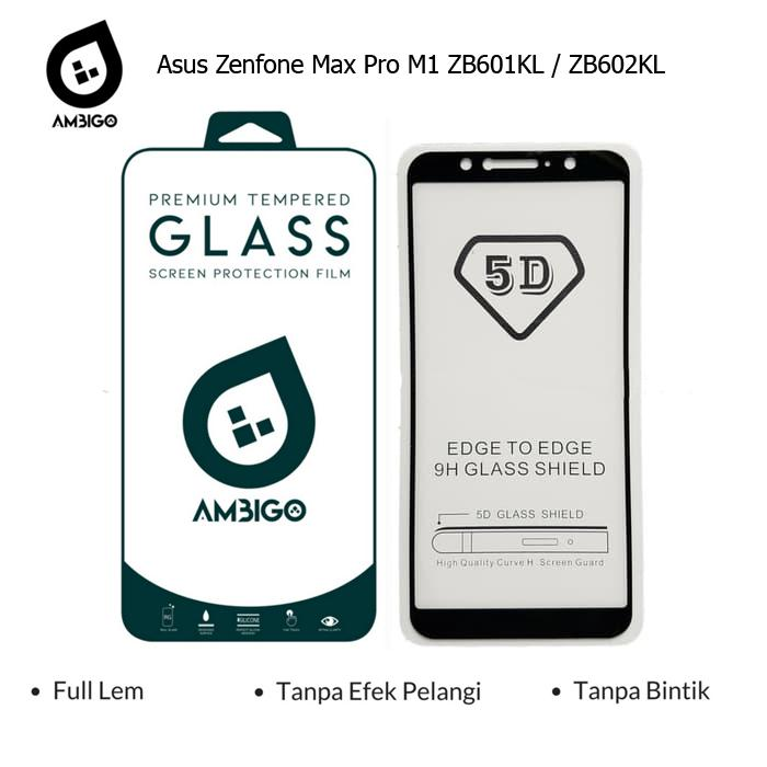 Ambigo 5D Tempered Glass Screen Protector Asus Zenfone Max Pro M1 ZB602KL / ZB601KL Full Cover Glue - Black