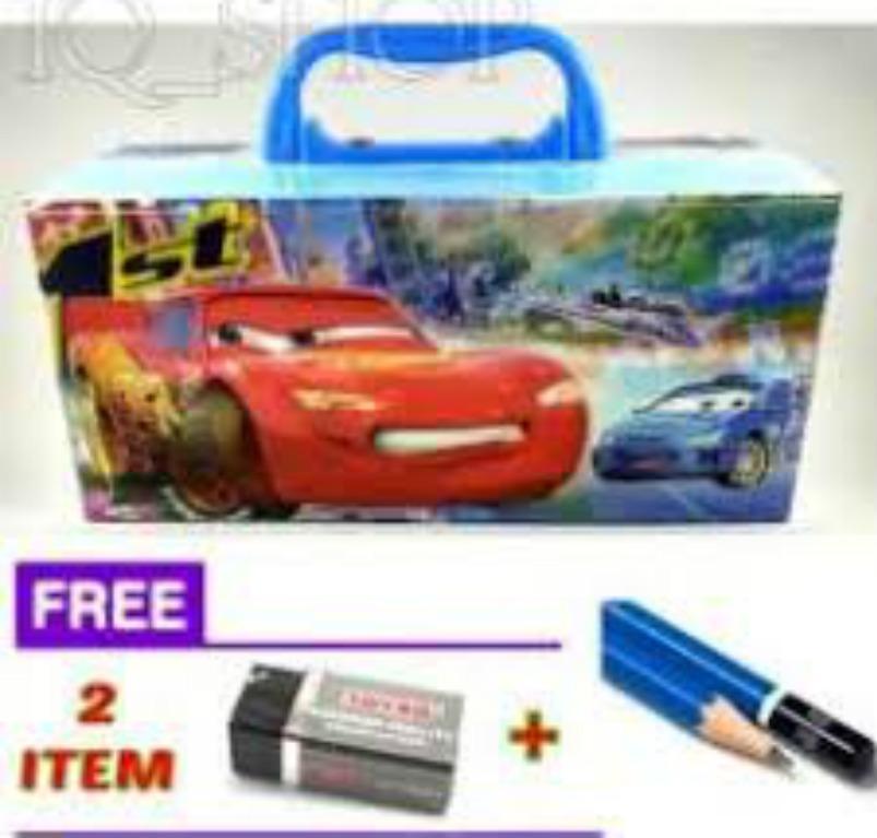 Tempat / Kotak Pensil Karakter CARS Dengan Kode (COWOK - CEWEK) + FREE Penghapus + Pensil.- DJ