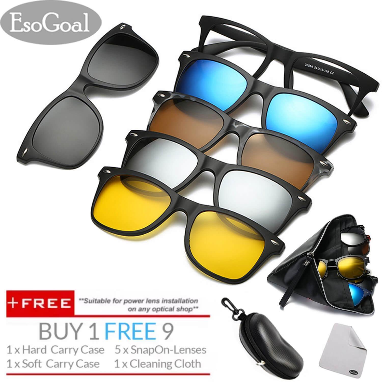 EsoGoal Magnetic Sunglasses Clip On Glasses Unisex Polarized Lenses Retro Frame with Set of 5 lenses