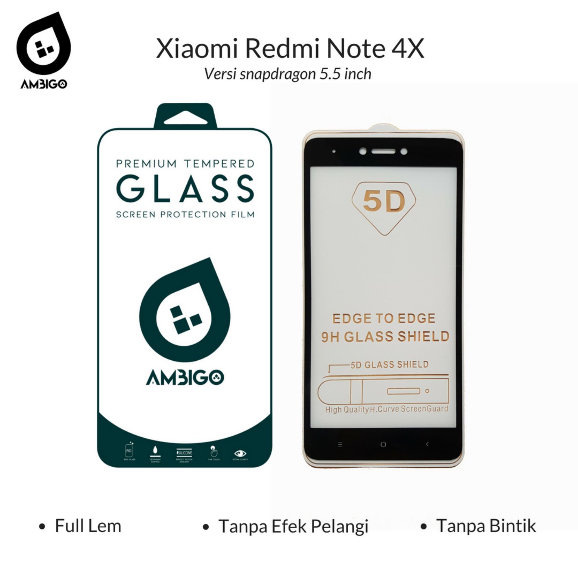 Accessories Hp Ambigo Tempered Glass 5D Full Cover Warna / Anti Gores Kaca Full Lem Untuk Xiaomi Redmi Note 4X / Note 4 Versi Snapdragon 5.5 inch - Black