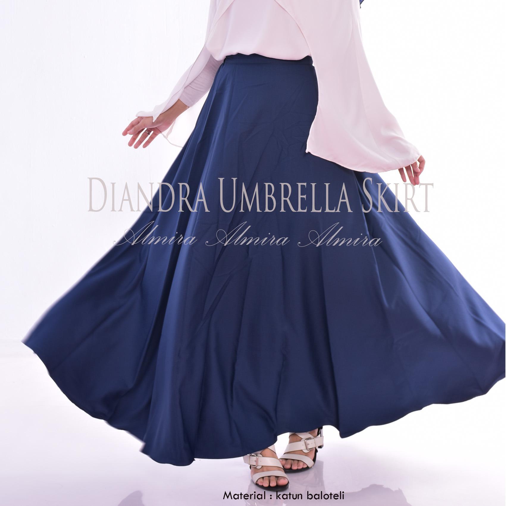 Rok Panjang Terbaru Diandra Umbrella Skirt Katun Baloteli  Hitam