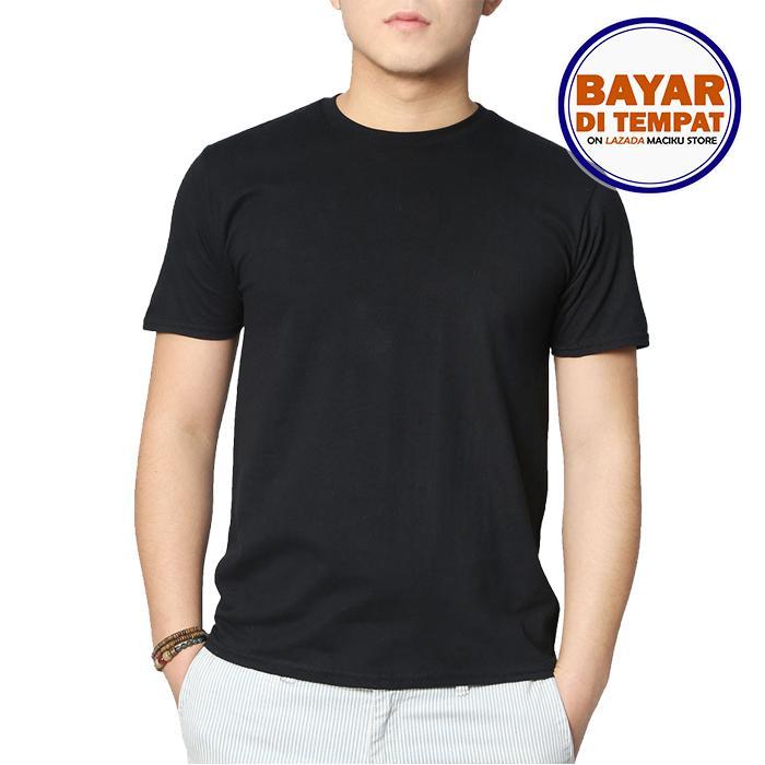 Maciku Kaos Pria Polos Distro Premium - Kaos Terbaru Keren Murah Tumblr Tee Dewasa Hitam & Putih Size S - XXXL