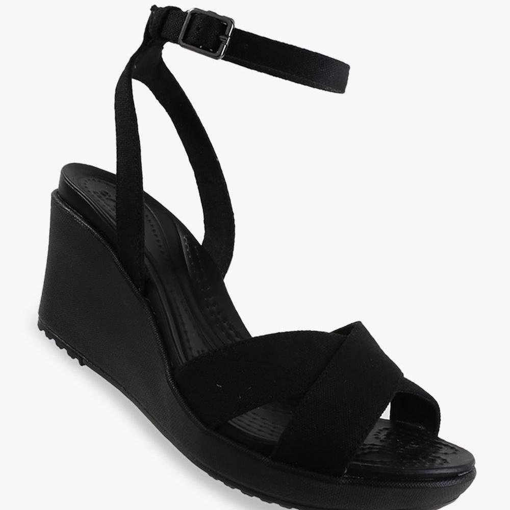 Crocs Women's Leigh II Ankle Strap Wedge - Black - PSNET8