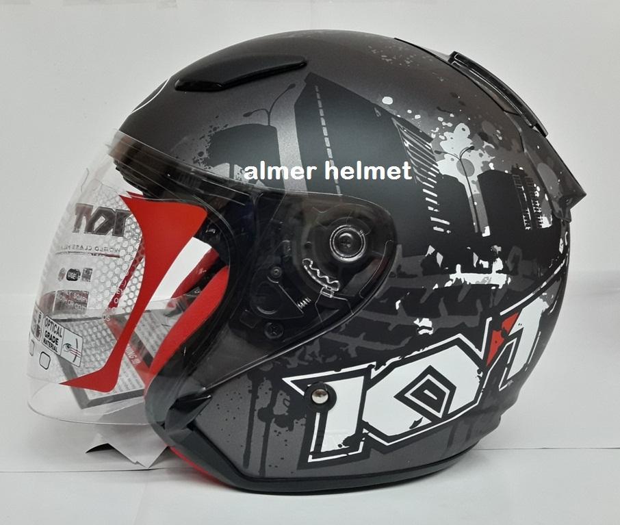 KYT DJ Maru #10 Helm Half Face - White Black Doff