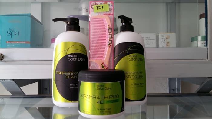 Sedang Diskon!! Paket Makarizo Salon Daily Bonus Sisir: Shampoo+Conditoner+Creambath - ready stock