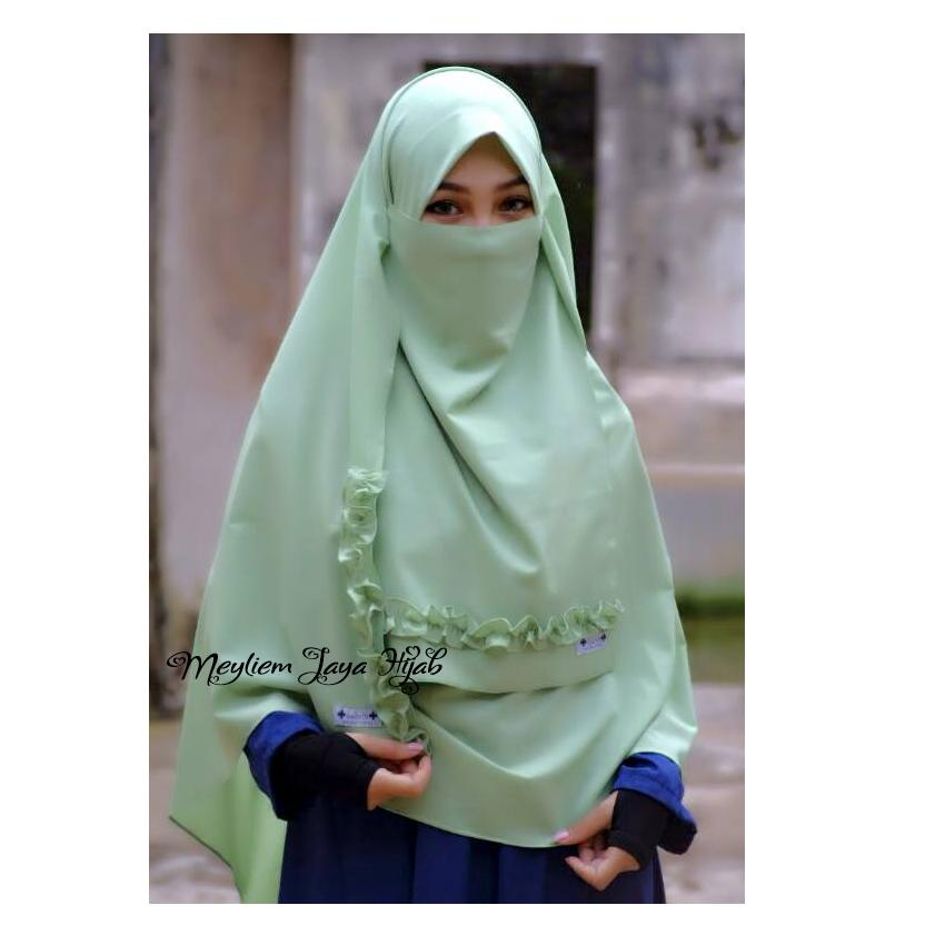 Pashmina Zahra Semi Instan With Curly Niqab - Mint