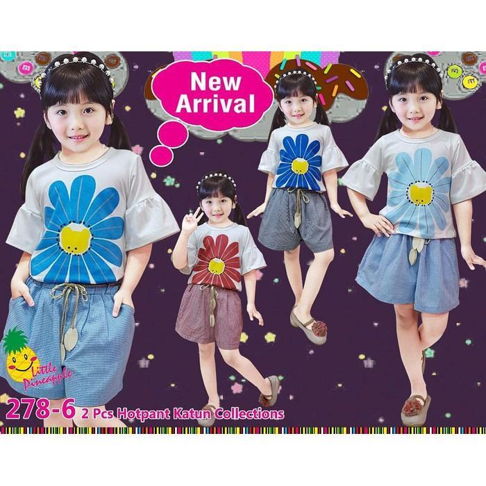 Dijual Baju Setelan Anak Perempuan Little Pineapple Putih Bunga Kulot Katun Berkualitas