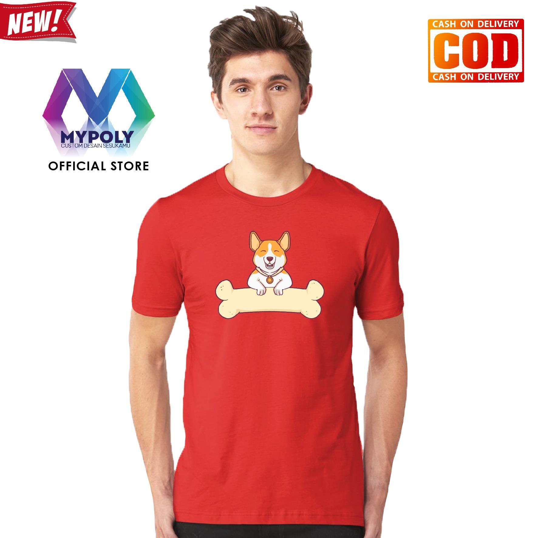 Kaos Premium Mypoly Pria Laki-Laki PL / Baju Couple Family Keluarga / Tshirt distro Anak Wanita / Fashion atasan / Kaos Pria Dewasa imlek02 smile dog