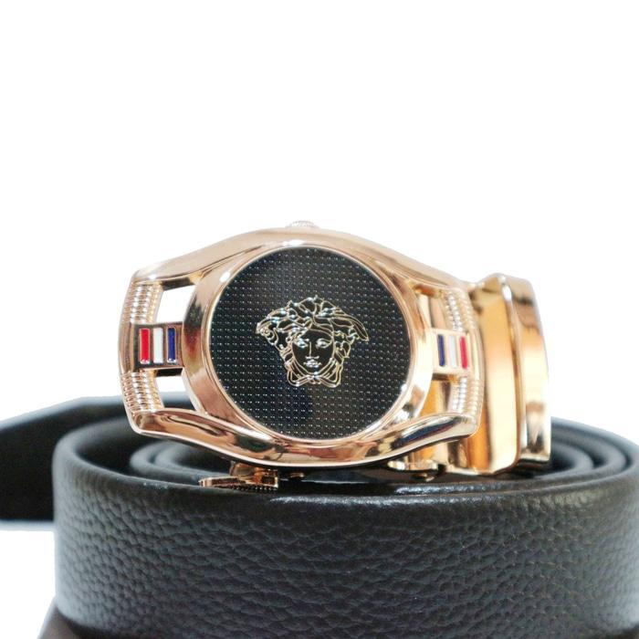Hemat 10%!! G-Ver-Ip Ikat Pinggang Kulit Pria Tali Gesper Kulit Import Versace - ready stock
