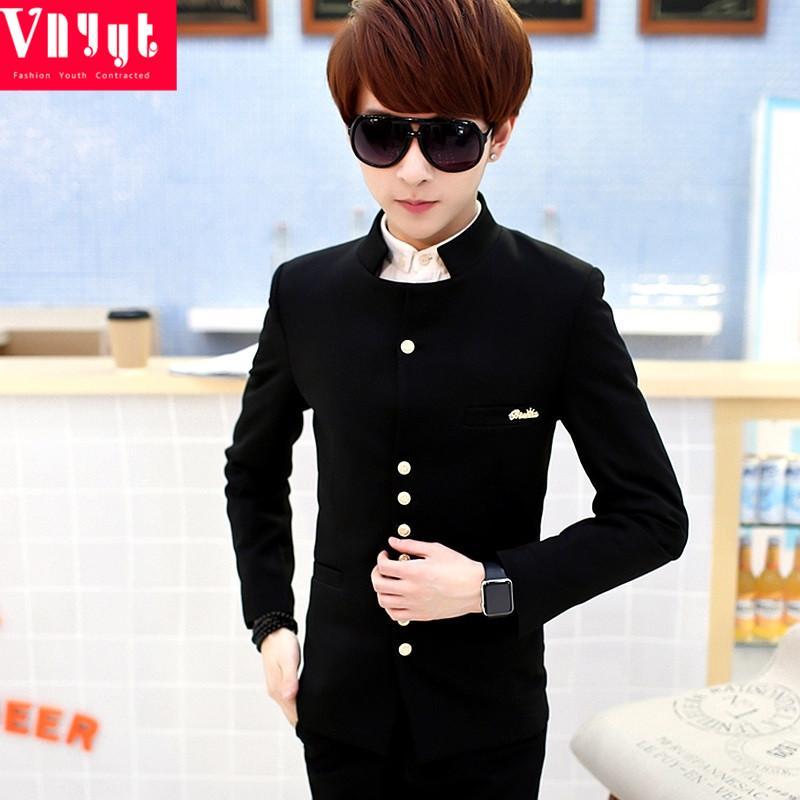 Kualitas Kapas Baik Laki-laki Lereng Cocok Setelan Mode Jas Jaket Gede Ukuran (hitam