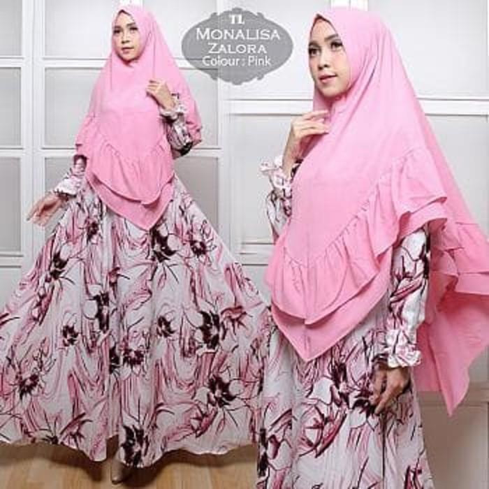 Promo Syari Monalisa Zalora Pink TL  Gamis Wanita Monalisa Pink Murah