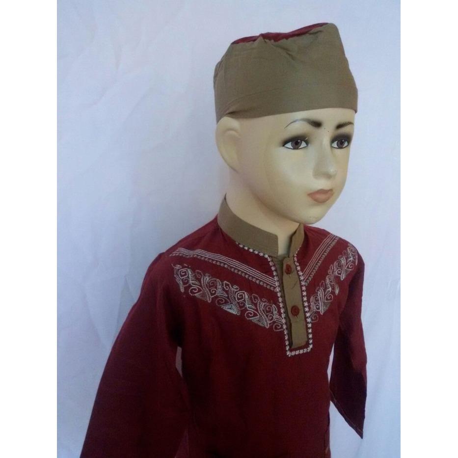 Baju Anak Setelan Baju Koko Merah Lengan Panjang Bordir Murah SAK 083L/ baju koko lebaran anak laki / baju koko aak laki murah terbaru / koko bordir