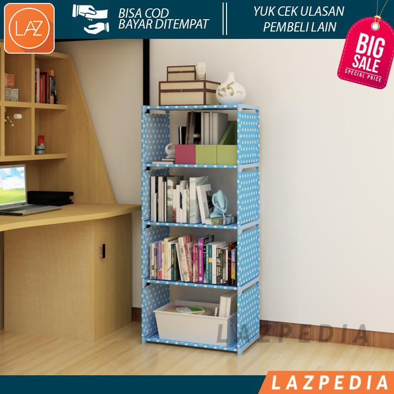 Laz COD - Rak Portable Serbaguna 5 SUSUN (Mudah di Bongkar Pasang) Cocok Untuk Merapikan Buku Pelajaran Anak Agar Tersusun Rapi Bahan Non Woven + Rangka Berbahan Plastik - Lazpedia A21