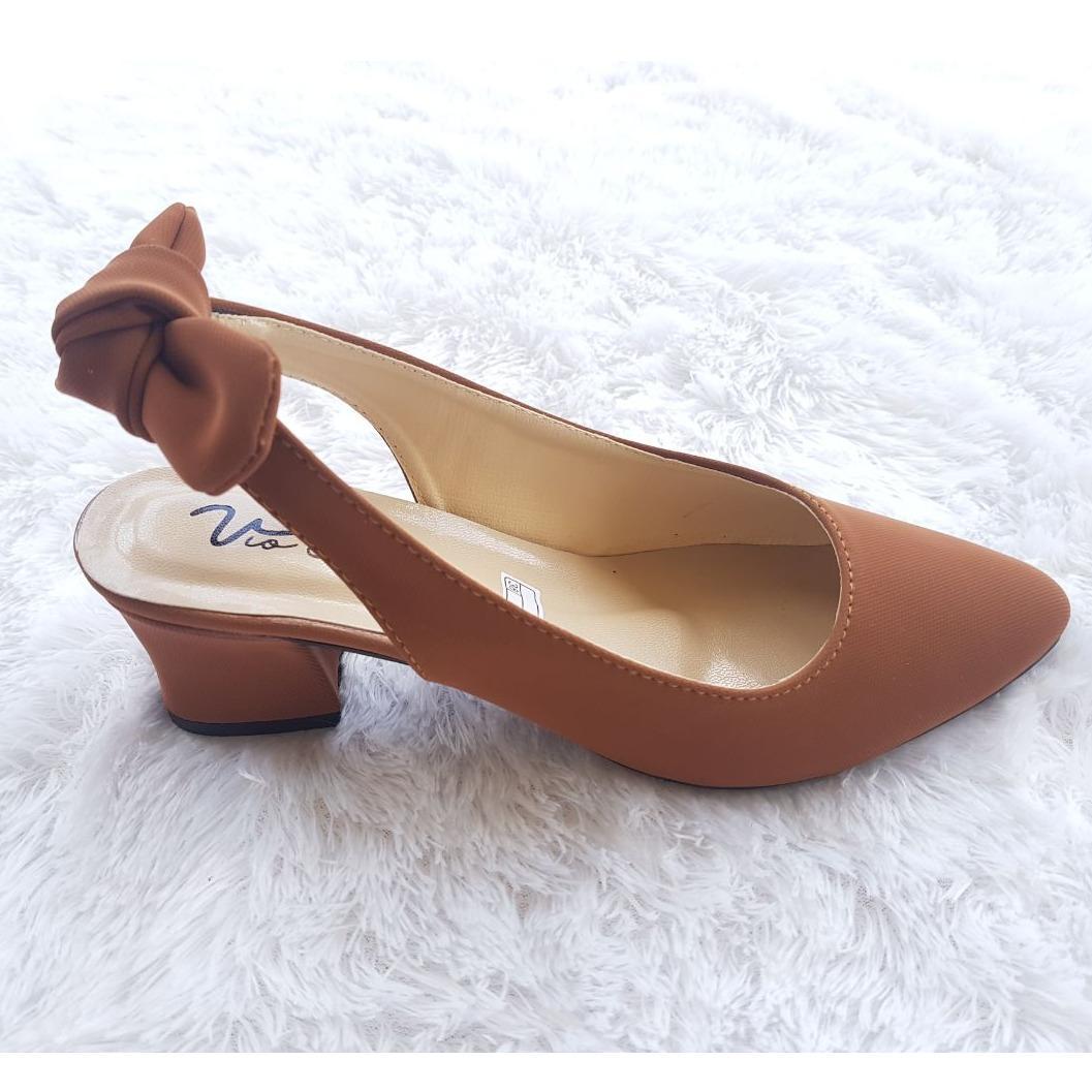 Sandal Pumps Wanita -  Sandal Hak Tahu Pita Belakang YL 60
