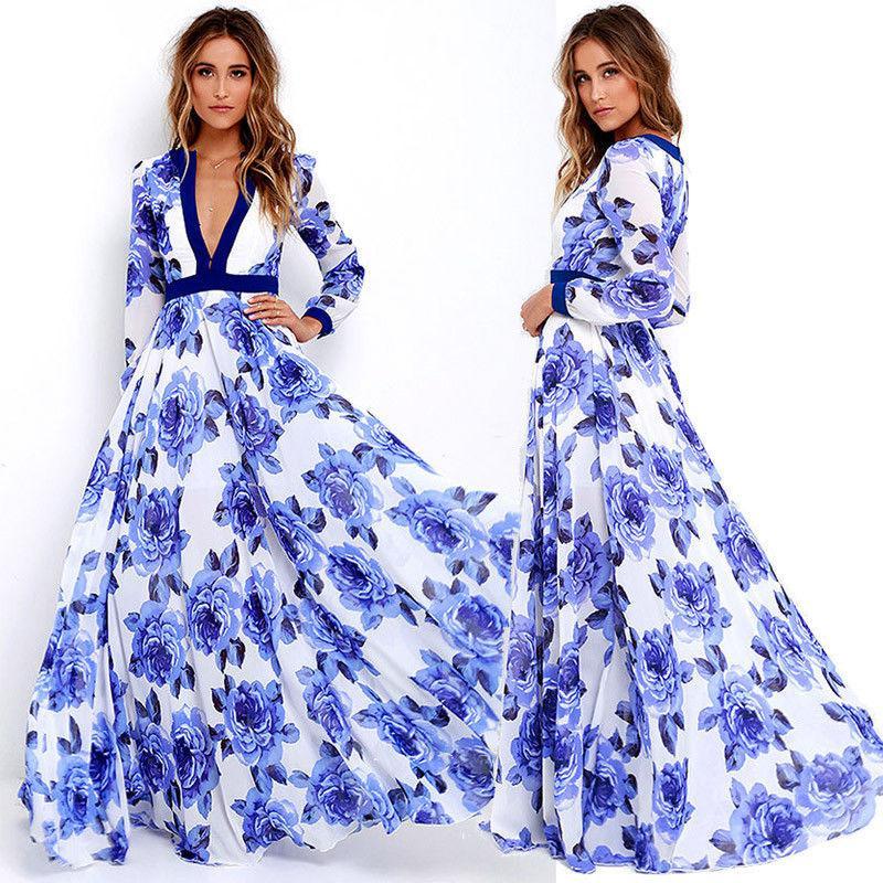 Wanita Seksi Gaun Sifon Musim Panas BoHo Maxi Long Gaun Malam untuk Pesta Pantai (Biru)-Intl