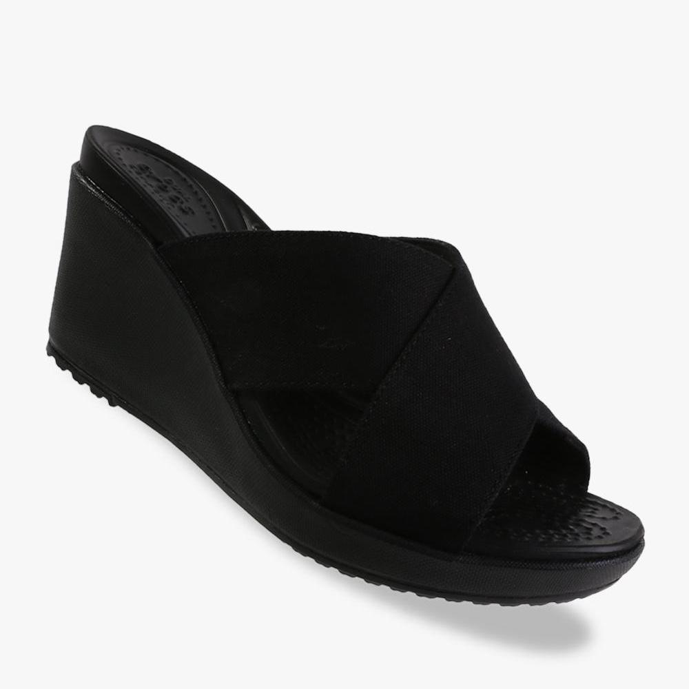 Crocs Women's Leigh II Cross-Strap Wedge - Black - PSNET8