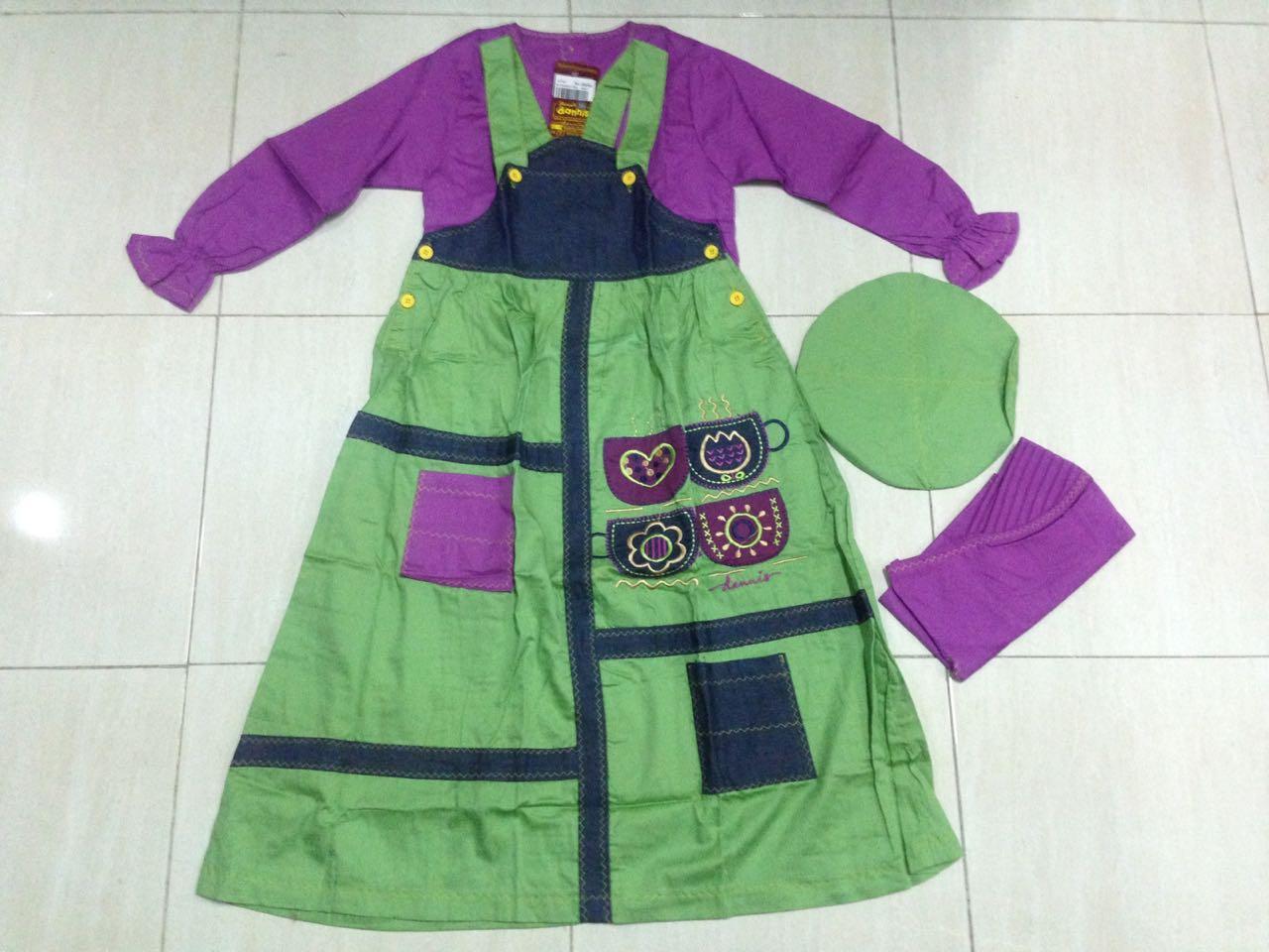 Setelan Overall Dannis Baju Muslim Anak Perempuan tipe Rok C
