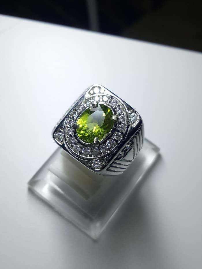 Perhiasan Natural Cincin Batu Permata Natural Green Peridot Mewah By Natural Gemshop.