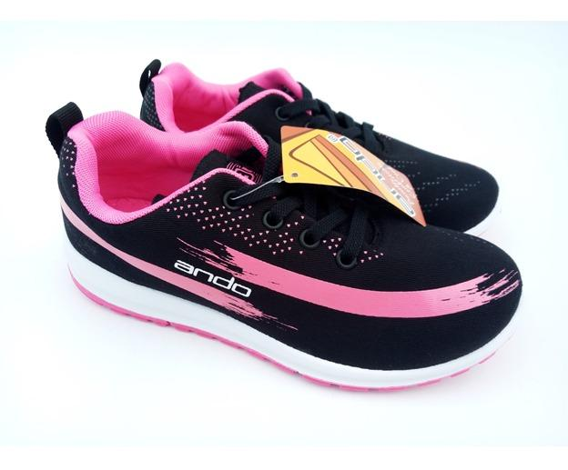 FIURI - ANDO Lindsey Original Black Pink - Sepatu Olahraga Lari Wanita - Sepatu Sekolah - Sepatu Ando - Sepatu Sneakers Kuliah Senam Gym Jogging Sport ...