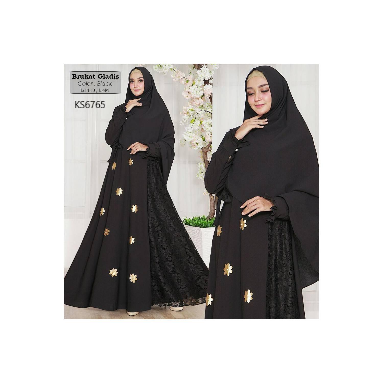 Busana muslimah/ jubah/gamis/Baju Muslim BRUKAT GLADIS hitam terbaik