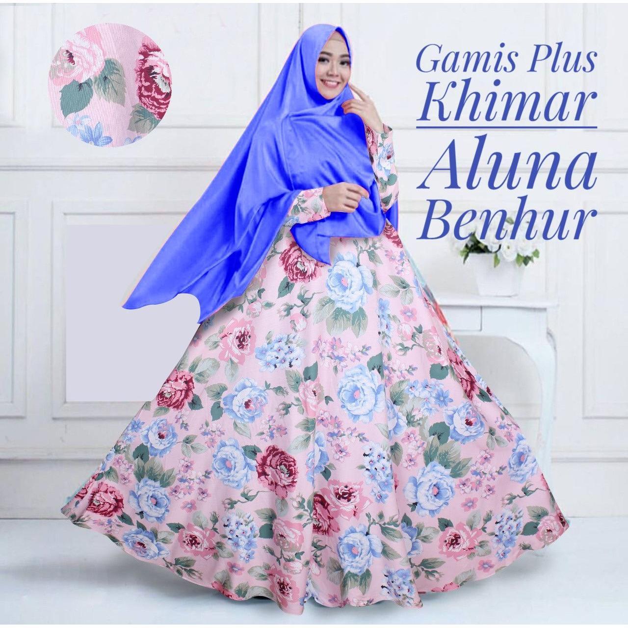 Gamis Katun Aluna Set Dengan Khimar Warna Benhur