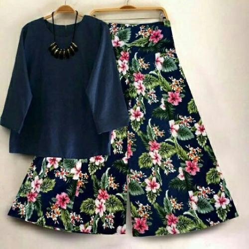 SR Collection Best Seller Set 2 in 1 Blouse Kulot Wanita Fitri - Navy Navy