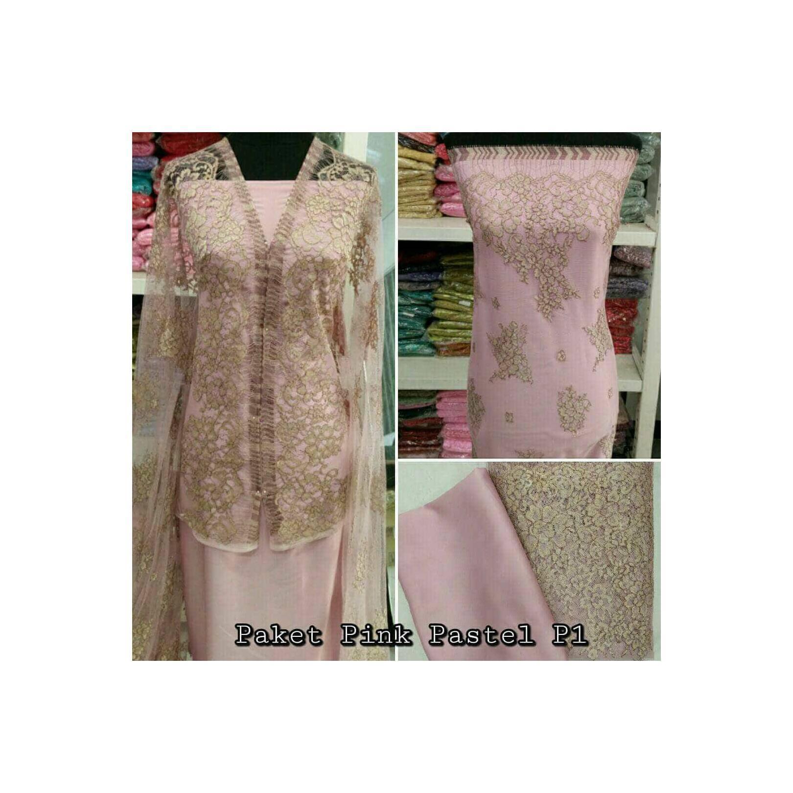 Brokat Brukat Bahan Kain Kebaya Dress Gaun Gamis Couple Pink Pastel P1