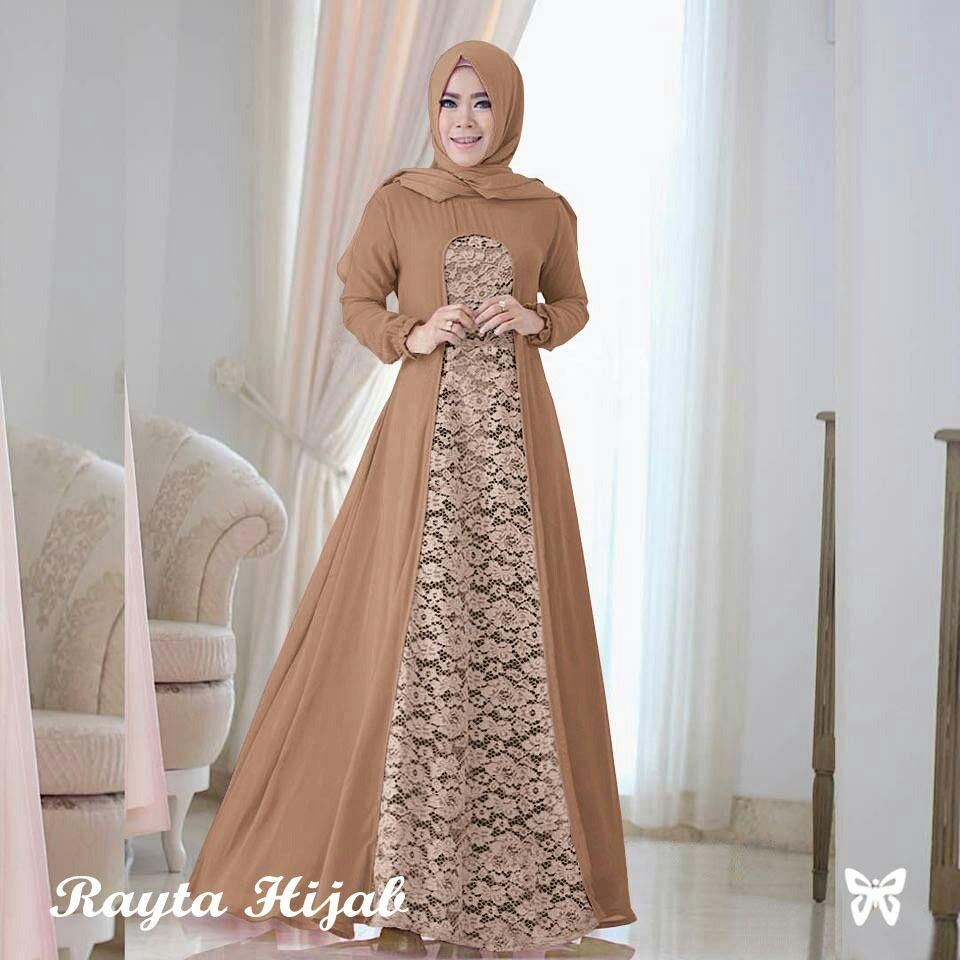 UC Maxi Dress Lengan Panjang Raita / Gamis Syari / Gaun Pesta Muslimah / Baju Brukat Muslim Wanita Syar'i Syari / Hijab / Jilbab Muslim Cantik Lebaran S3 (ytara) - Mocca