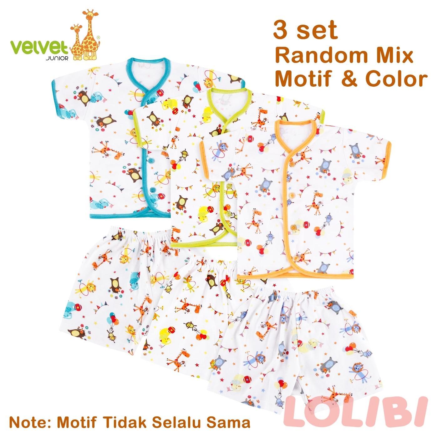 Velvet Junior Random Motif Baju Pendek + Celana Pendek NB - 3 Pcs