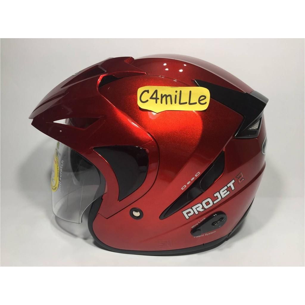 HELM MDS PROJET 2 SOLID RED MAROON DOUBLE VISOR HALF FACE