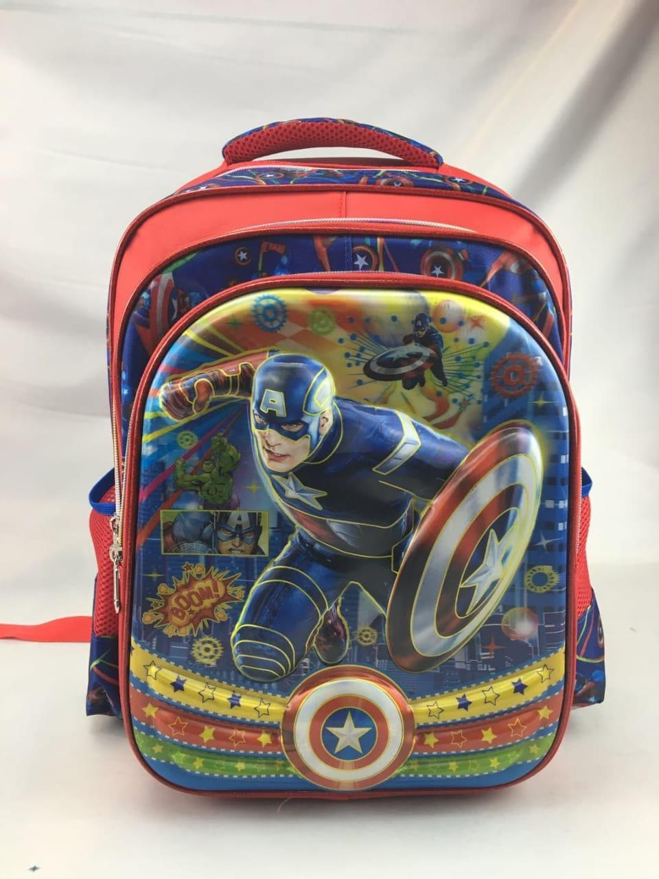 Onlan Tas Ransel Anak SD Karakter Anak Laki Laki Avengers Captain Amerika 5D Timbul Import - Blue