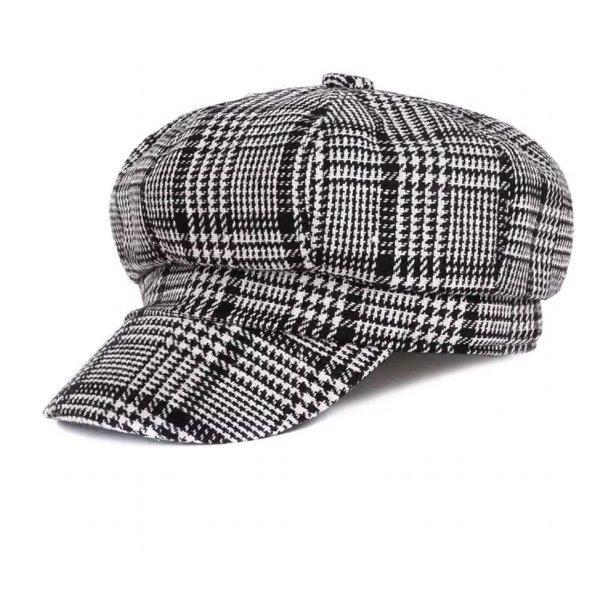 Newsboy cap newsboy hat houndstooth topi hitam black