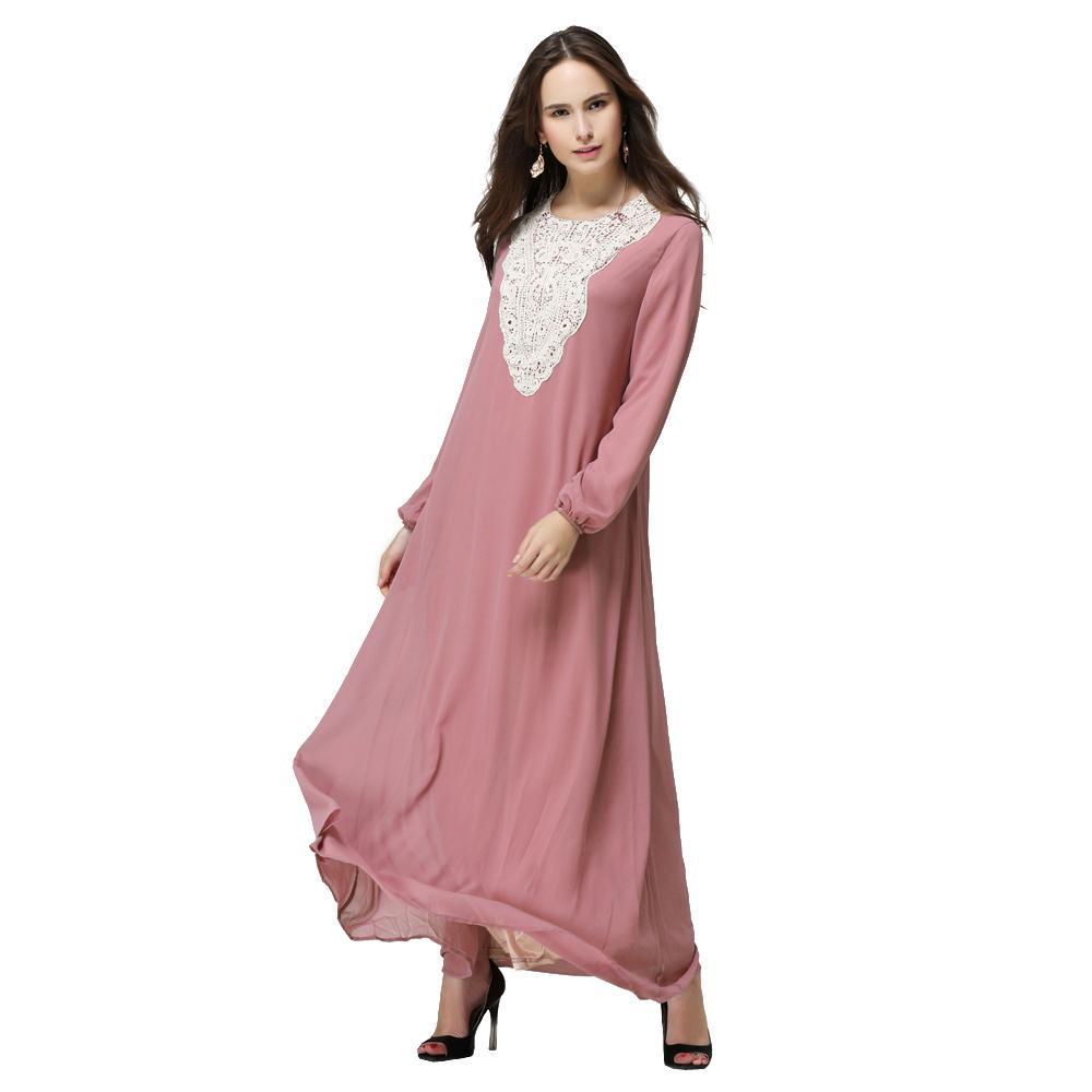 Chiffon Arab Wanita Muslim Gaun Rok Jubah Arab Robe Jumpsuit Lengan Panjang Danau Biru-Intl
