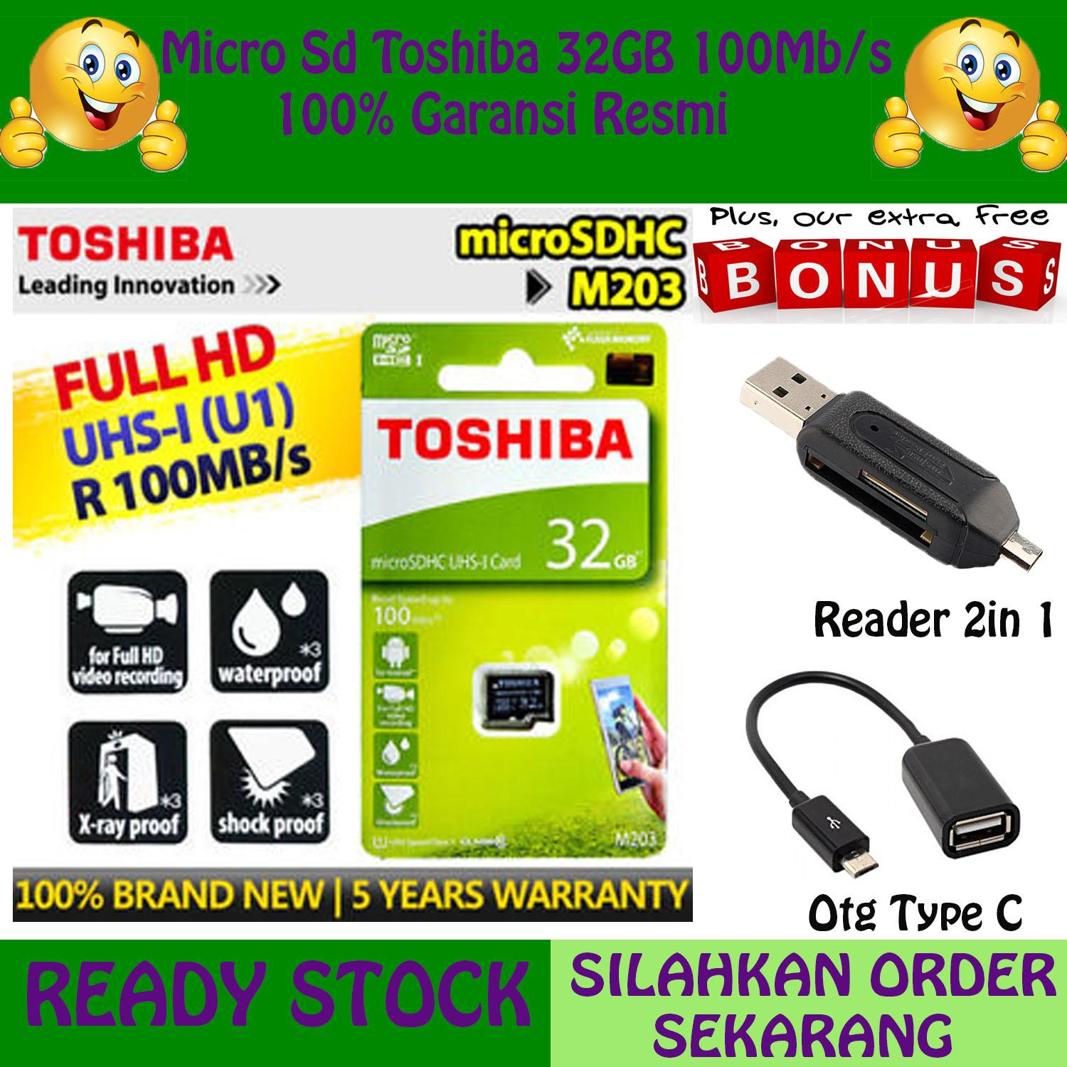 Original 100% Toshiba micro SD card TOSHIBA 32gb cl/10 speed up 100MB/s class 10 Memory Cad Micro Sdhc GRATIS Reader 2in1 + Otg Type C
