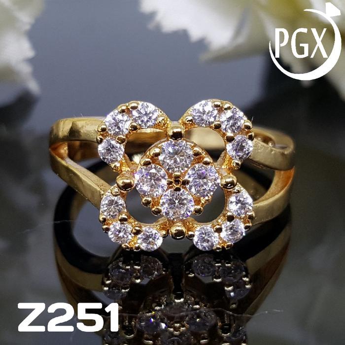 Cincin Berlian Permata Mewah - Set Perhiasan Xuping Lapis Emas