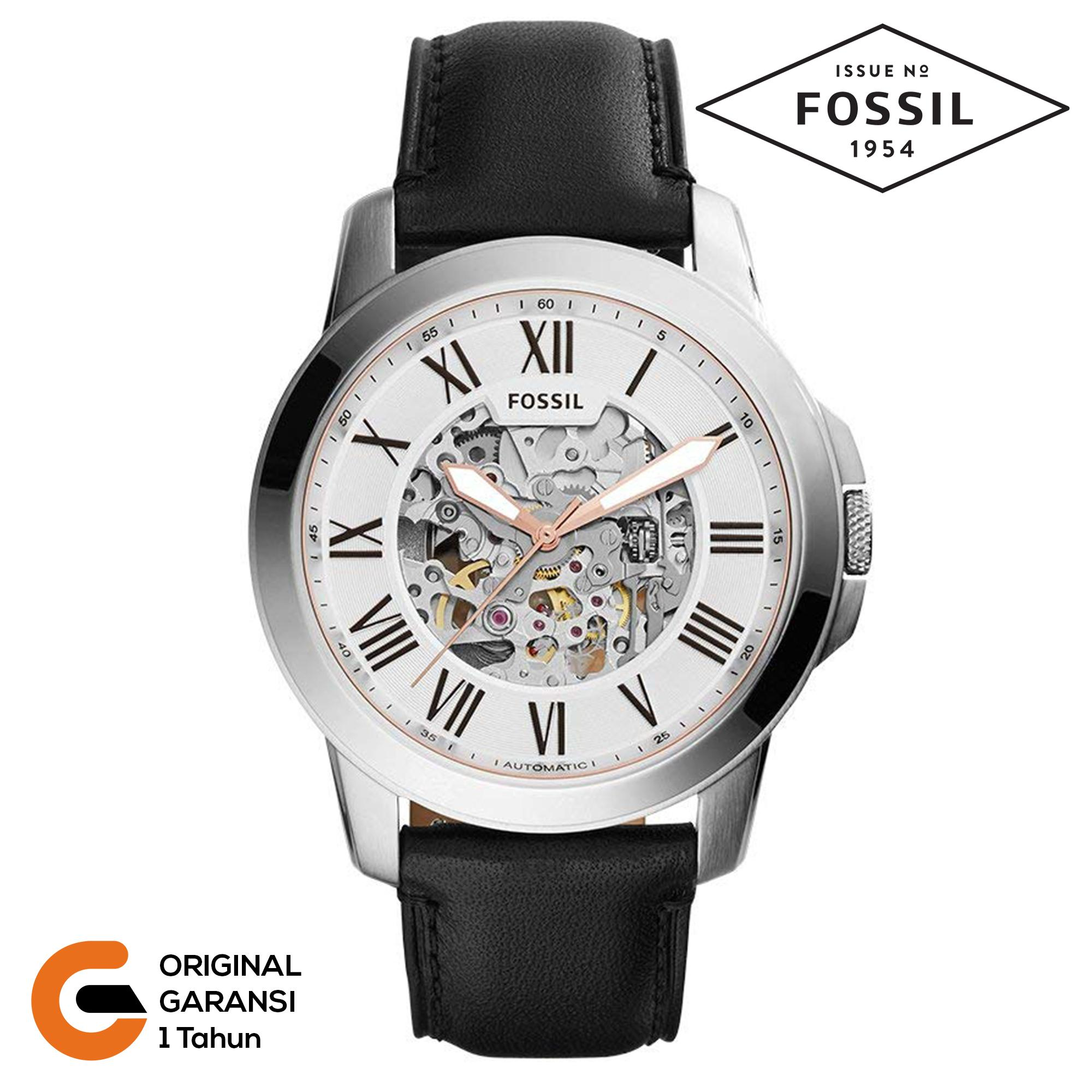 Fossil Jam Tangan Pria Fossil Grant Automatic Tali kulit Leather / Rantai Logam Stainless Steel Mechanical Automatic Movement Black Blue White Putih Hitam Biru ME3053 ME3054 ME3103 ME3052 EM3111 ME3054 ME3102 ME3099