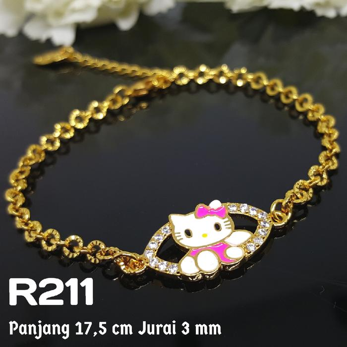R211 Gelang Remaja Dewasa Hello Kitty Aksesoris Perhiasan Xuping Emas