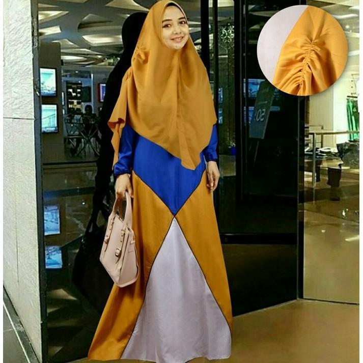 Cuci Gudang !!!    Gamis Syari Marina Baju Muslim Maxi Bergo Baju Wanita Remaja Gold Tm