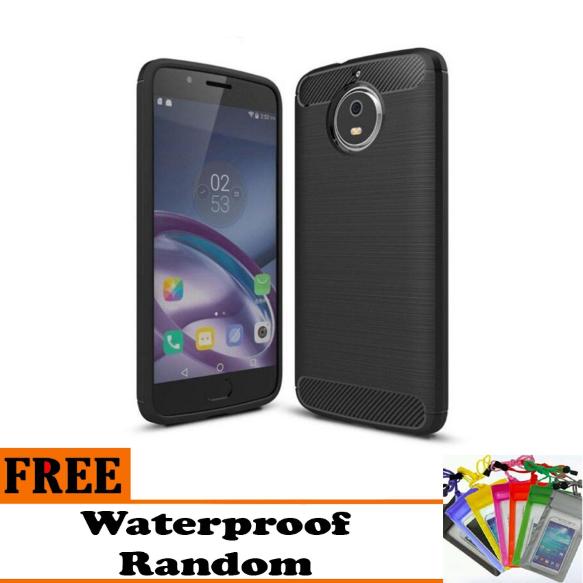 Softcase Ipaky Shockproof Matte Black karbon untuk Motorola Moto G5 S Plus  - Free Waterproof