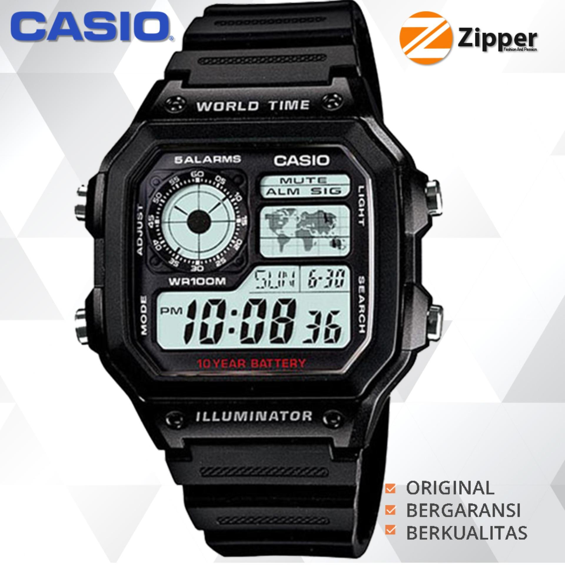 Casio Illuminator Jam Tangan Digital AE-1200WH-1AVDF Youth Series - Tali Resin