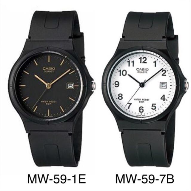Jam Tangan Casio Analog Watch MW-59 Series Jam Tangan Unisex - Hitam - Rubber